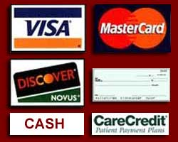 Cash, Check, Visa, Mastercard, Discover of CareCredit